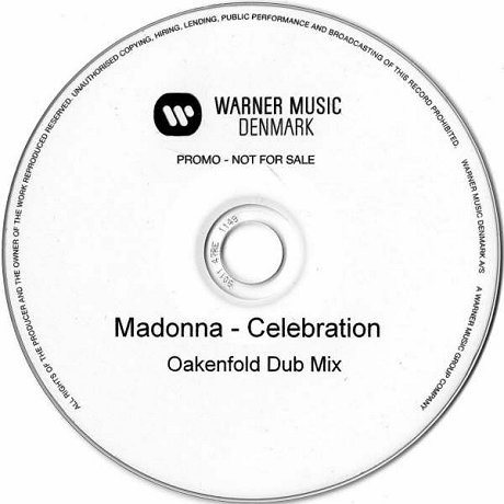 foto do Cd single promocional de Celebration,remixado pelo Dj Paul Oakenfold.